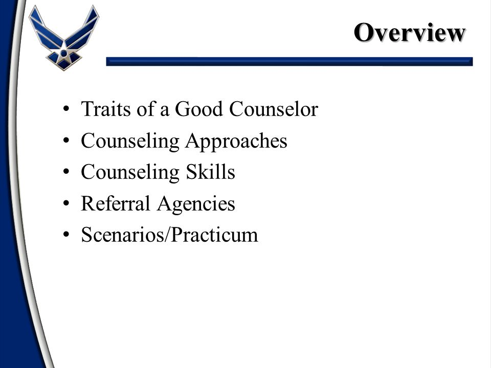 Traits of a Good Counselor Counseling Approaches Counseling Skills Referral Agencies Scenarios/PracticumOverview