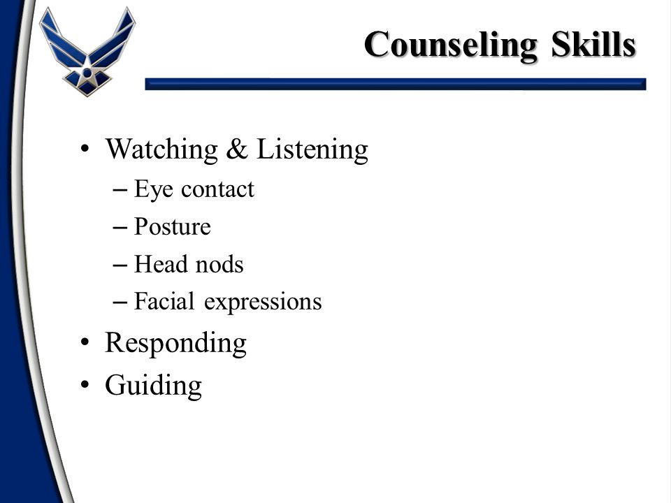 Watching & Listening Responding – Questioning – Summarizing – Interpreting – Informing – Confronting Guiding Counseling Skills
