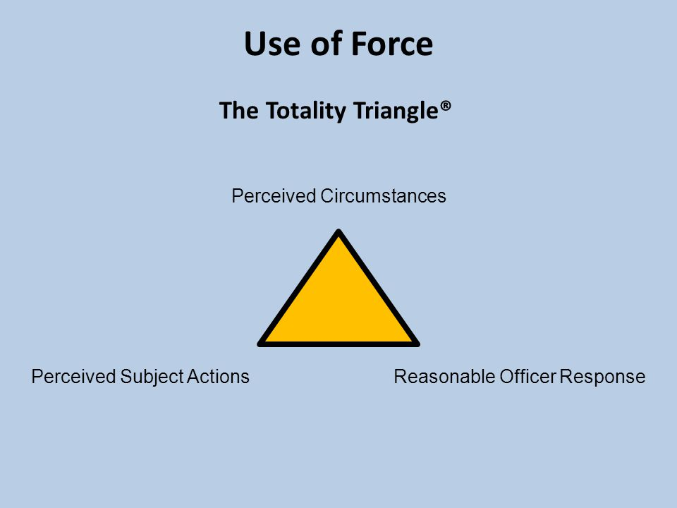 Perceived Circumstances Perceived Subject Actions Reasonable Officer Response Use of Force The Totality Triangle®