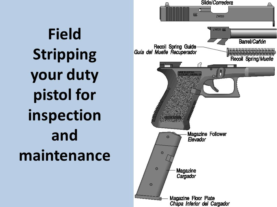 Field Stripping your duty pistol for inspection and maintenance