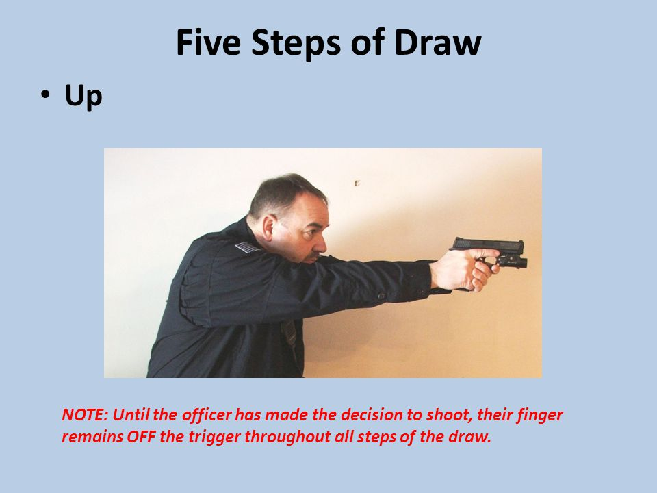 Five Steps of Draw Up NOTE: Until the officer has made the decision to shoot, their finger remains OFF the trigger throughout all steps of the draw.