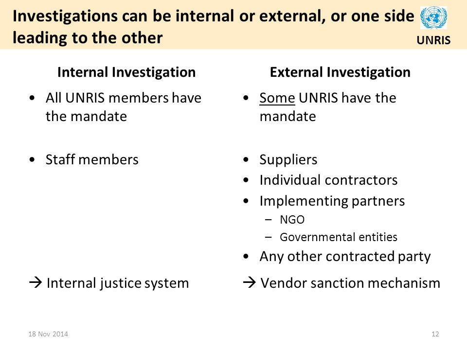 UNRIS Investigations can be internal or external, or one side leading to the other Internal Investigation All UNRIS members have the mandate Staff members  Internal justice system External Investigation Some UNRIS have the mandate Suppliers Individual contractors Implementing partners – NGO – Governmental entities Any other contracted party  Vendor sanction mechanism 18 Nov 201412