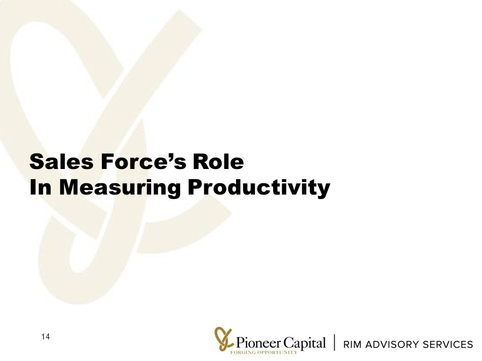 Sales Force's Role In Measuring Productivity 14
