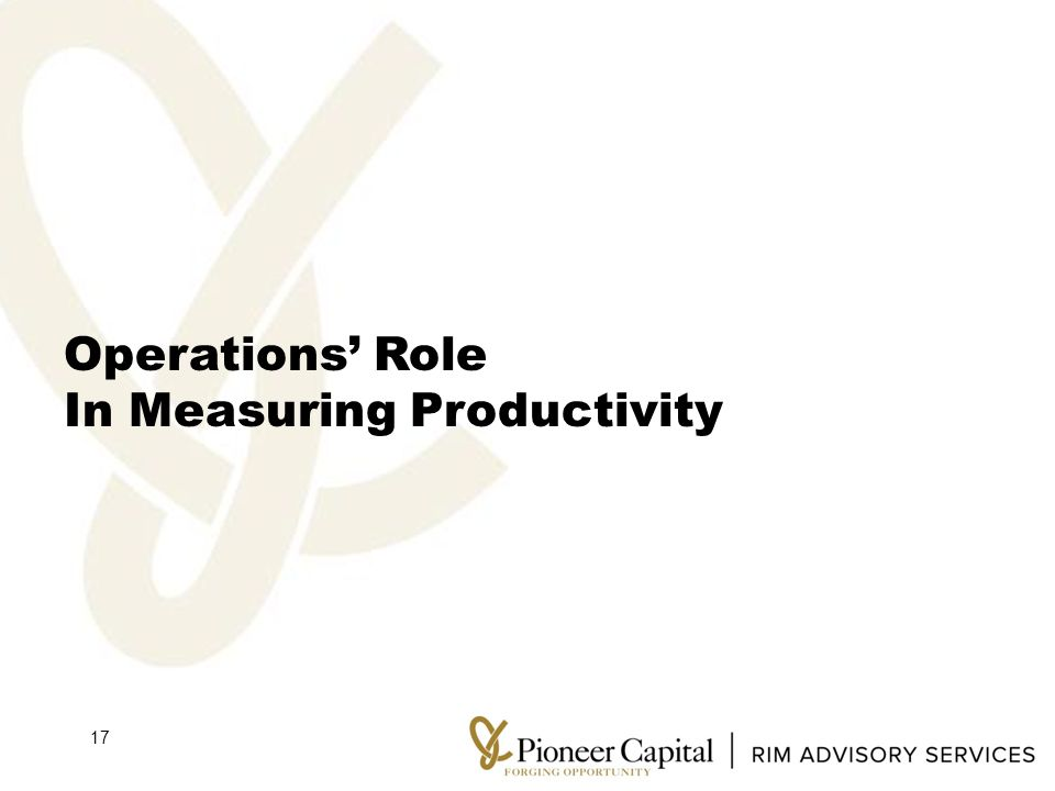 Operations' Role In Measuring Productivity 17