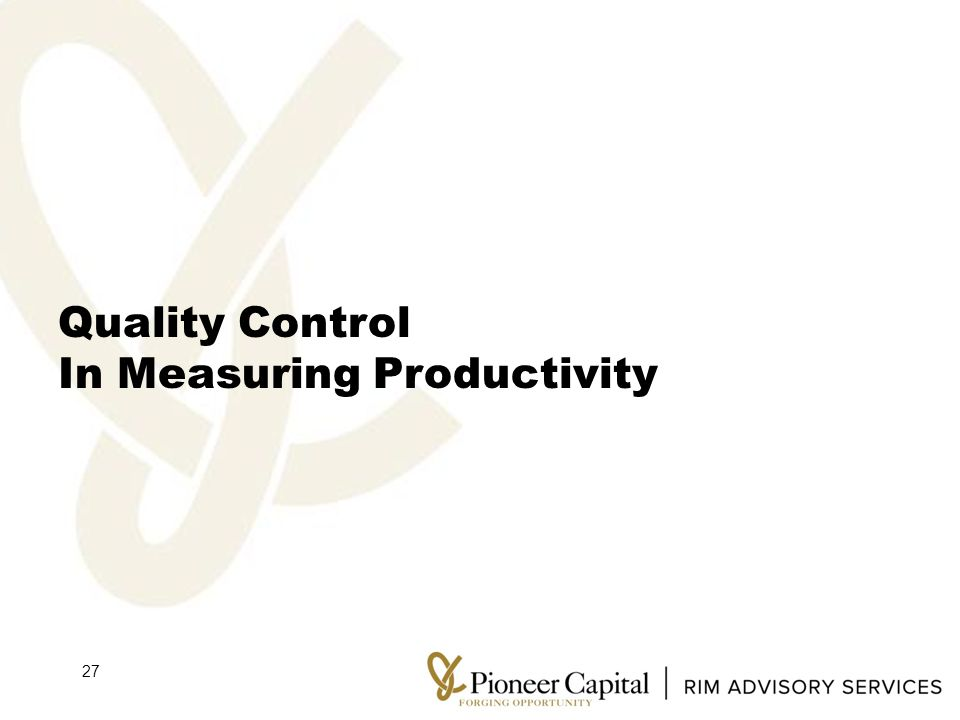 Quality Control In Measuring Productivity 27