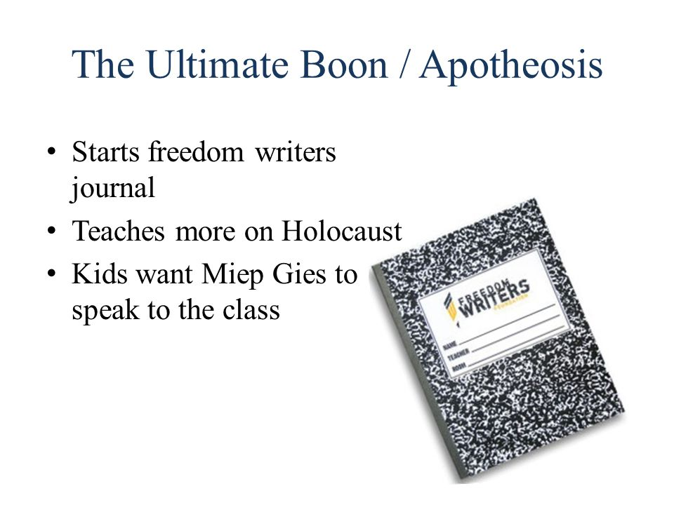 The Ultimate Boon / Apotheosis Starts freedom writers journal Teaches more on Holocaust Kids want Miep Gies to speak to the class