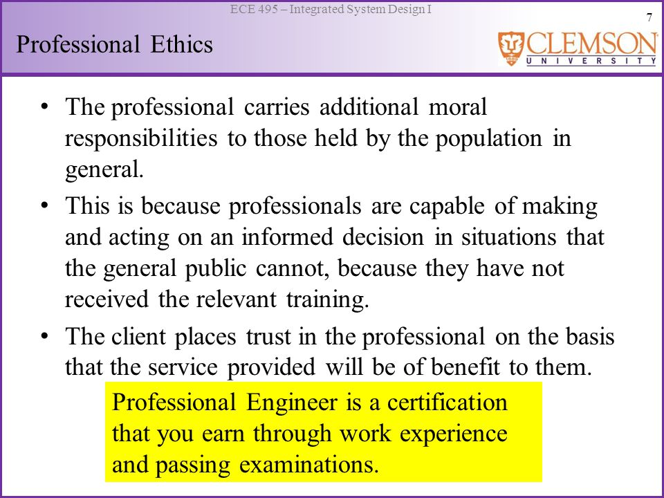 8 ECE 495 – Integrated System Design I Codes of Ethics What is the basis for moral criticism.