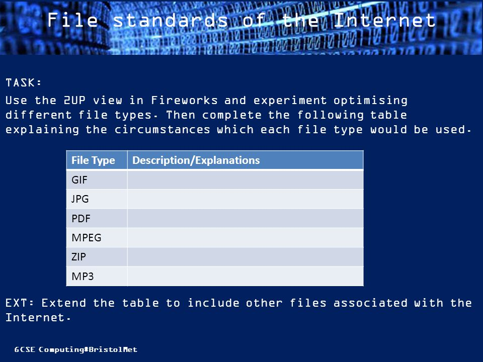 GCSE Computing#BristolMet File standards of the Internet TASK: Use the 2UP view in Fireworks and experiment optimising different file types.
