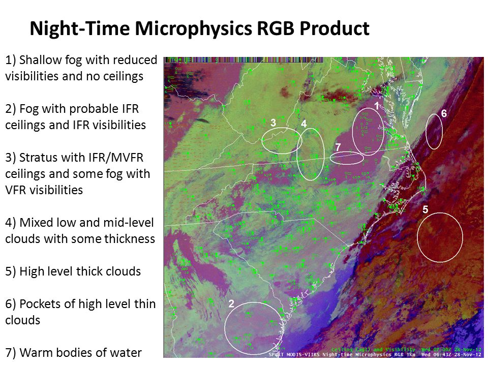 Night-Time Microphysics RGB Product Strengths  Provides a new opportunity to take advantage of vertical aspects of satellite data.