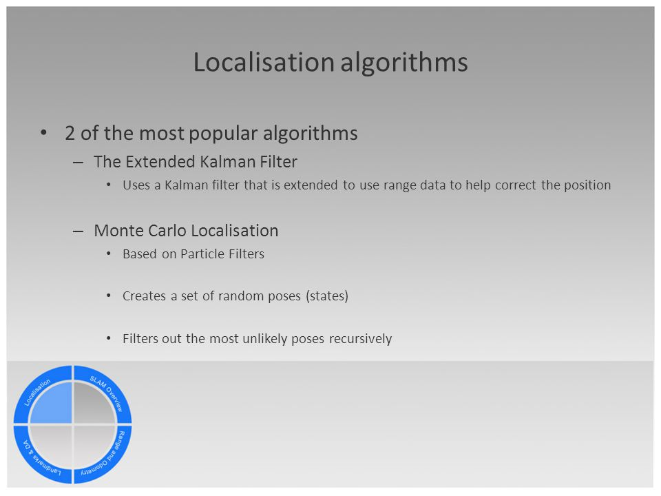 Localisation algorithms 2 of the most popular algorithms – The Extended Kalman Filter Uses a Kalman filter that is extended to use range data to help correct the position – Monte Carlo Localisation Based on Particle Filters Creates a set of random poses (states) Filters out the most unlikely poses recursively