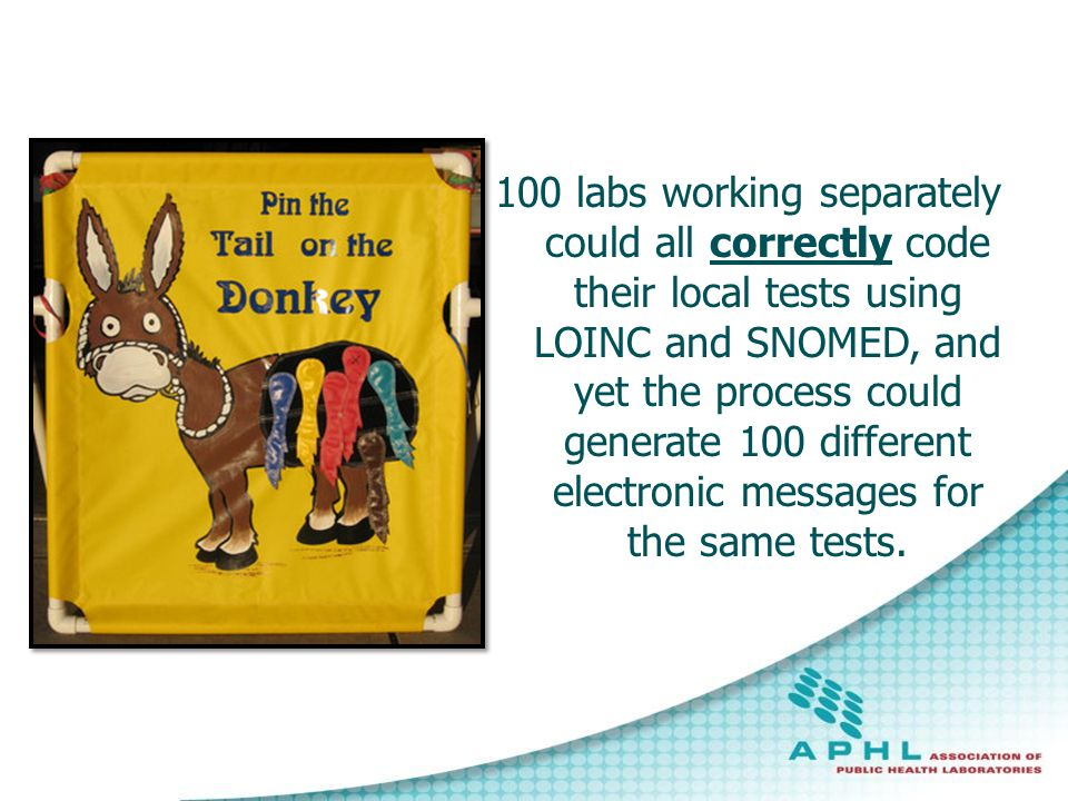 100 labs working separately could all correctly code their local tests using LOINC and SNOMED, and yet the process could generate 100 different electronic messages for the same tests.
