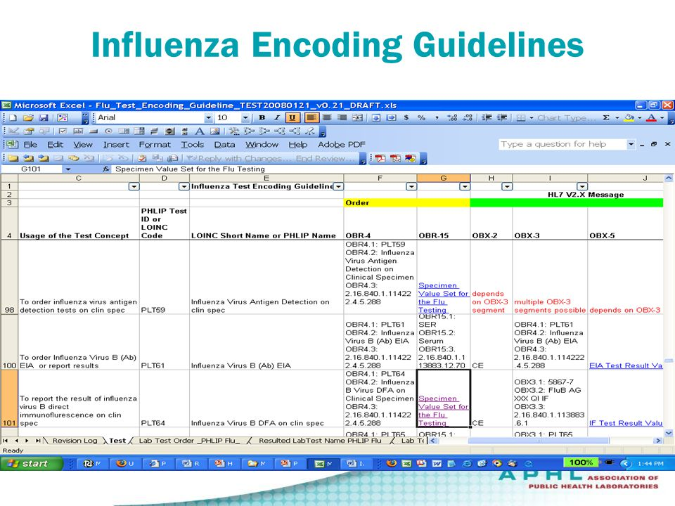 Influenza Encoding Guidelines