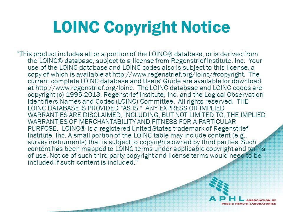 LOINC Copyright Notice