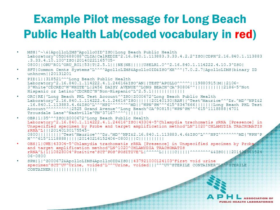 Example Pilot message for Long Beach Public Health Lab(coded vocabulary in red) MSH|^~\&|ApolloLIMS^ApolloOID^ISO|Long Beach Public Health Laboratory^05D0688088^CLIA|CalREDIE^2.16.840.1.113883.3.33.4.2.2^ISO|CDPH^2.16.840.1.113883.3.33.4.10.100^ISO|20140221165705- 0800||ORU^R01^ORU_R01|53|T|2.5.1|||NE|NE|||||USELR1.0^^2.16.840.1.114222.4.10.3^ISO| SFT|Common Cents Systems^L^^^^ApolloLIMS&ApolloOID&ISO^XX^^^|7.0.2.7|ApolloLIMS|binary ID unknown||20131201 PID|1||318521^^^Long Beach Public Health Laboratory^2.16.840.1.114222.4.1.24616&ISO^AN||TEST^APOLLO^^^^^||19880915|M||2106- 3^White^CDCREC^W^WHITE^L|2456 DAISY AVENUE^^LONG BEACH^CA^90806^^|||||||||||2186-5^Not Hispanic or Latino^CDCREC^N^Non-Hispanic^L^2.5.1||||||||||||| ORC|RE|^Long Beach PHL Test Account^^ISO|Z000672^Long Beach Public Health Laboratory^2.16.840.1.114222.4.1.24616^ISO||||||20140130|RAW||^Test^Maurice^^^Dr.^MD^^NPI&2.16.840.1.113883.4.6&ISO^L^^^NPI^^^^^^^^MD||^WPN^PH^^^615^8347666|||||||Long Beach PHL Test Account^^^^^^^^^|2525 Grand Avenue^^Long Beach^CA^90815|^WPN^PH^^^615^1118888|4701 Trousdale Lane^^Nashville^TN^37167^^^^||||||| OBR|1|35^^^ISO|Z000672^Long Beach Public Health Laboratory^2.16.840.1.114222.4.1.24616^ISO|43304-5^Chlamydia trachomatis rRNA [Presence] in Unspecified specimen by Probe and target amplification method^LN^1020^CHLAMYDIA TRACHOMATIS rRNA^L|||20140130175545- 0800|||||||||^Test^Maurice^^^Dr.^MD^^NPI&2.16.840.1.113883.4.6&ISO^L^^^NPI^^^^^^^^MD|^WPN^P H^^^615^1118888|||||20140216152406-0800|||C|||||||||| OBX|1|CWE|43304-5^Chlamydia trachomatis rRNA [Presence] in Unspecified specimen by Probe and target amplification method^LN^1020^CHLAMYDIA TRACHOMATIS rRNA^L|1|10828004^Positive^SCT^POS^POSITIVE^L|^^^^^L|||||C|||||^^^^^^^^&&ISO|||201402161524 06-0800 SPM|1|^Z000672&ApolloLIMS&ApolloOID&ISO||437921000124103^First void urine specimen^SCT^UV^Urine, voided^L^^^Urine, voided|||^^^UV^STERILE CONTAINER^L^^^STERILE CONTAINER||||||||||||||||||