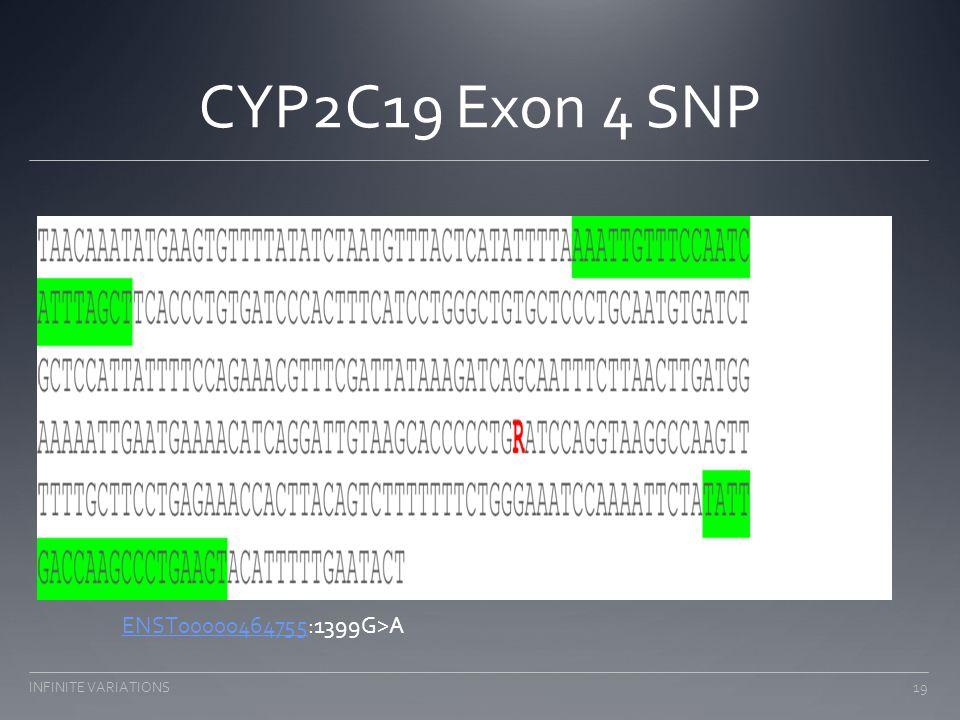 CYP2C19 Exon 4 SNP ENST00000464755ENST00000464755:1399G>A 19INFINITE VARIATIONS