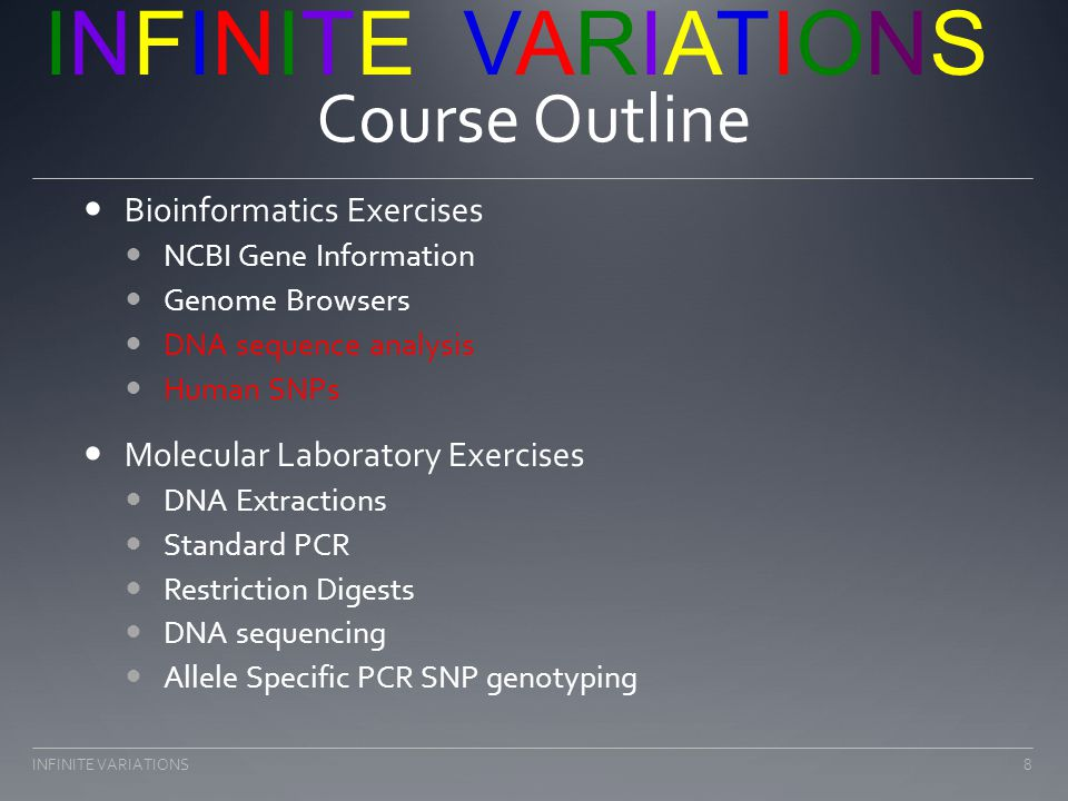 Bioinformatics Exercises Introduction of genome browsers 9INFINITE VARIATIONS