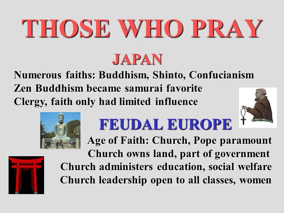 THOSE WHO PRAY JAPAN Numerous faiths: Buddhism, Shinto, Confucianism Zen Buddhism became samurai favorite Zen Buddhism became samurai favorite Clergy,