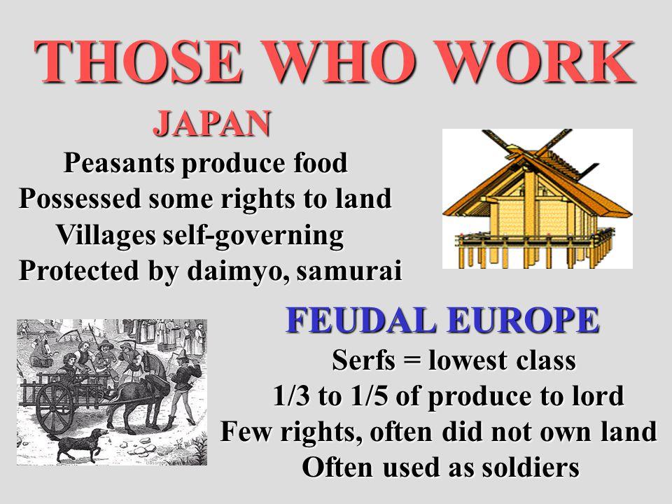 THOSE WHO WORK JAPAN Peasants produce food Peasants produce food Possessed some rights to land Villages self-governing Villages self-governing Protect