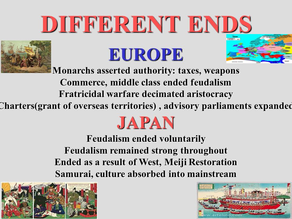 DIFFERENT ENDS EUROPE Monarchs asserted authority: taxes, weapons Commerce, middle class ended feudalism Fratricidal warfare decimated aristocracy Cha