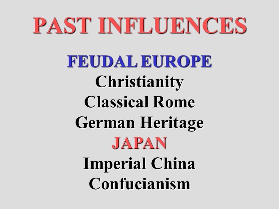 PAST INFLUENCES FEUDAL EUROPE Christianity Classical Rome German Heritage JAPAN Imperial China Confucianism