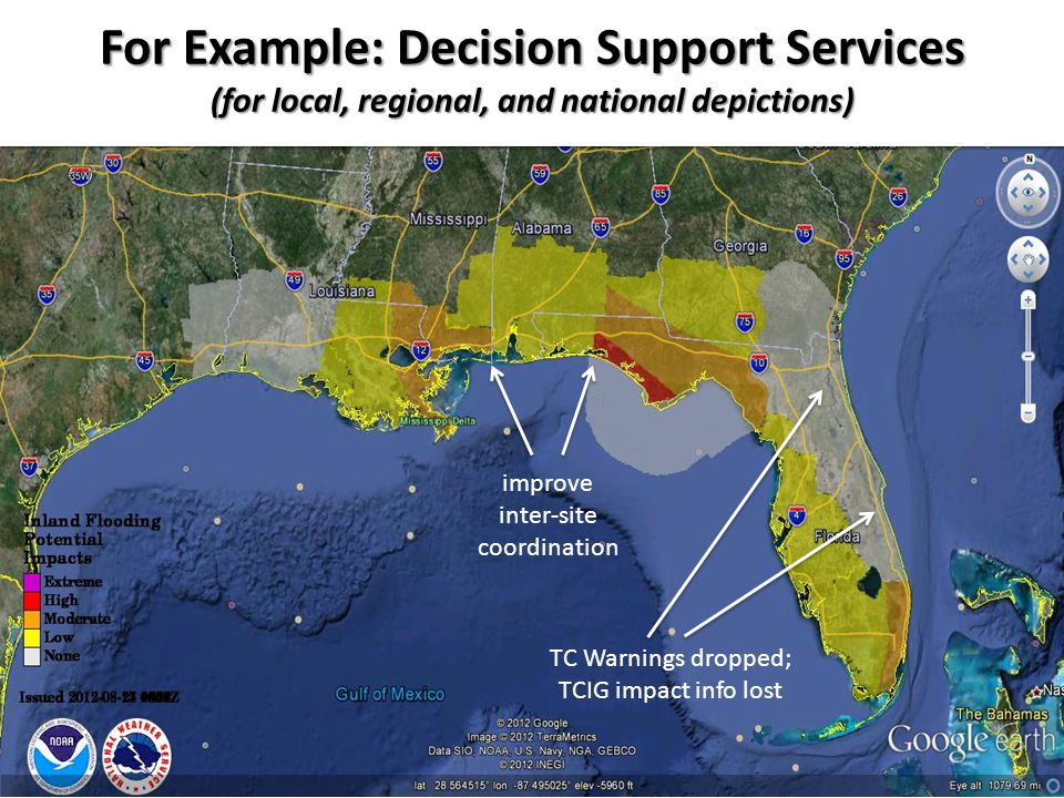 For Example: Decision Support Services (for local, regional, and national depictions) improve inter-site coordination TC Warnings dropped; TCIG impact info lost