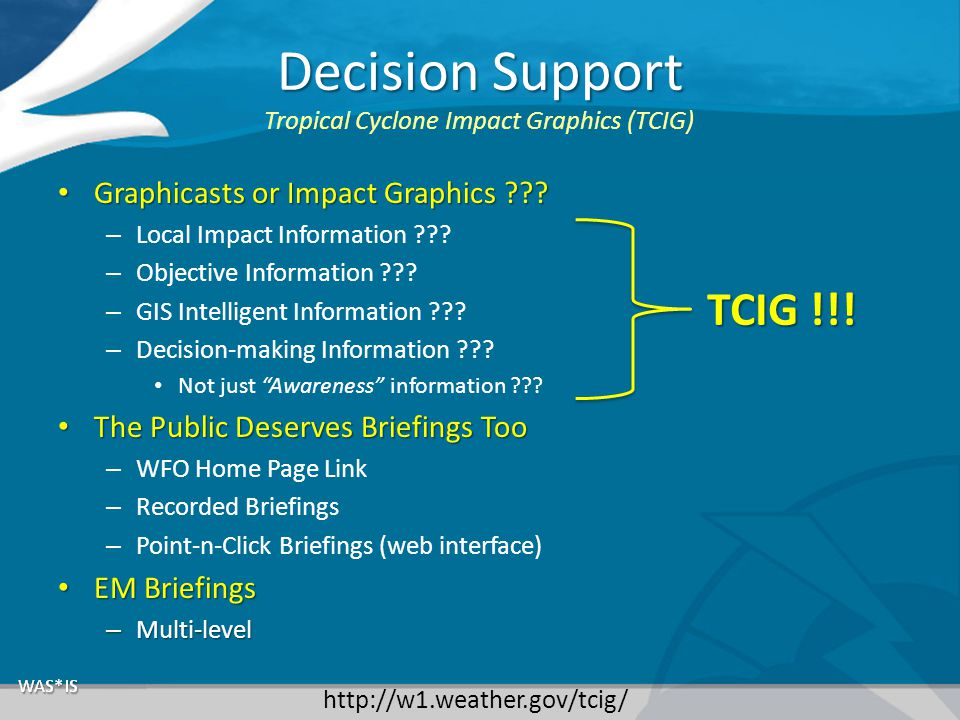 Decision Support Graphicasts or Impact Graphics ??.