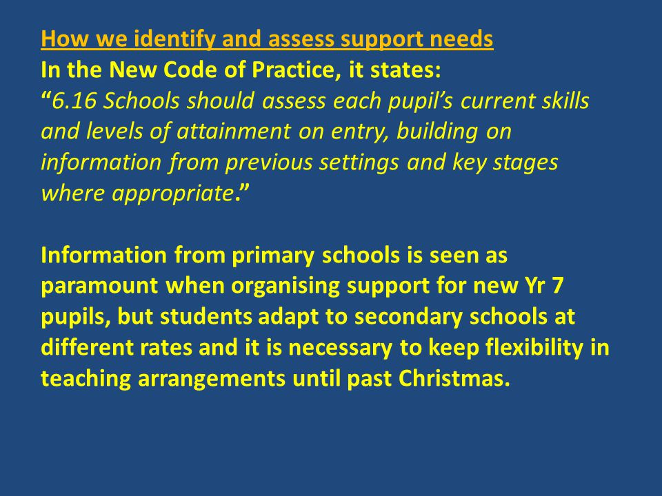 How we adapt our curriculum and learning environment to include students with support needs in the area of dyspraxia: We can provide a 'meet and greet' for students who are disorganised; Students can use laptops or iPads to produce their work; Teaching rooms and timetables are colour-coded; A variety of alternative stationery such as maths books with larger squares or raised lines; A variety of pens and pen grips are kept in school; Yr 8 and 9 have small groups for word-finding skills; Use of teaching assistants to provide alternative ways of recording work.