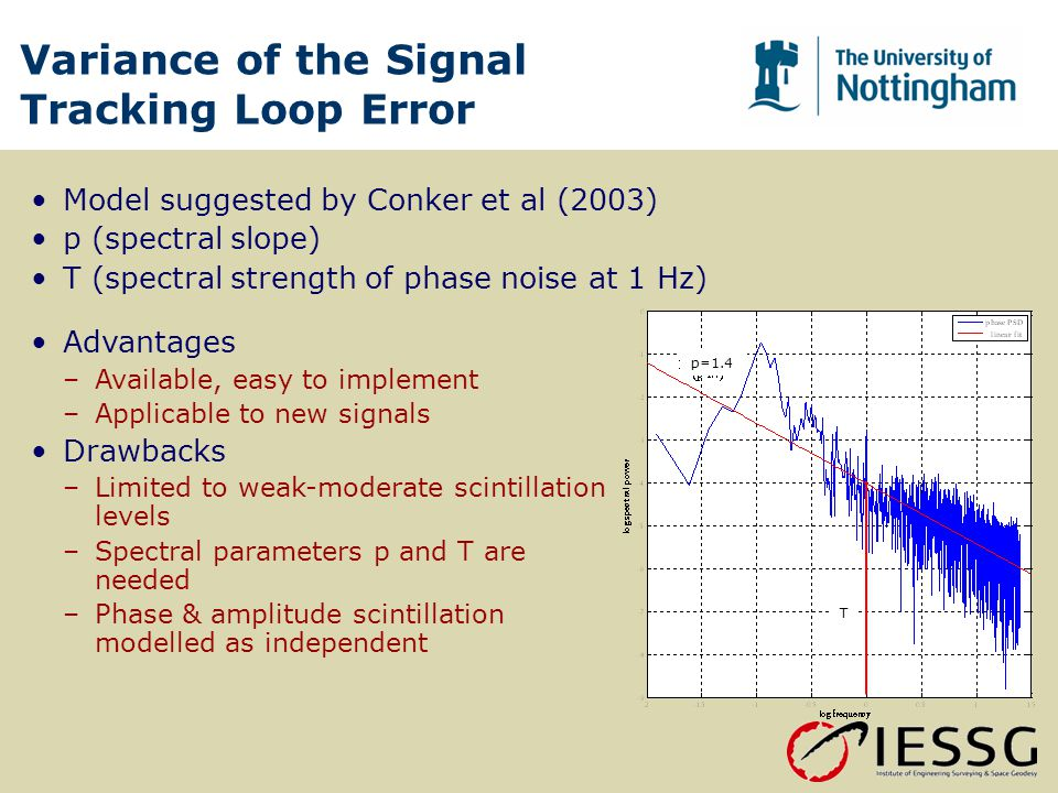 Variance of the Signal Tracking Loop Error Model suggested by Conker et al (2003) p (spectral slope) T (spectral strength of phase noise at 1 Hz) p=1.4 T Advantages –Available, easy to implement –Applicable to new signals Drawbacks –Limited to weak-moderate scintillation levels –Spectral parameters p and T are needed –Phase & amplitude scintillation modelled as independent