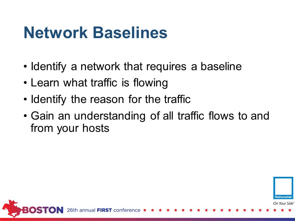 Network Baselines Identify a network that requires a baseline Learn what traffic is flowing Identify the reason for the traffic Gain an understanding