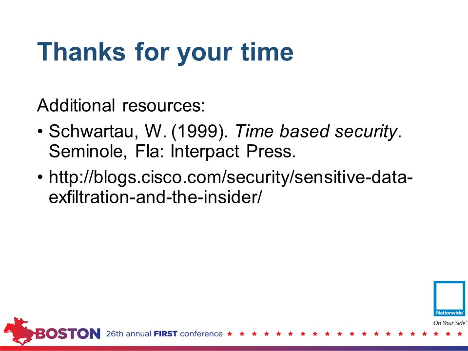 Thanks for your time Additional resources: Schwartau, W. (1999). Time based security. Seminole, Fla: Interpact Press. http://blogs.cisco.com/security/