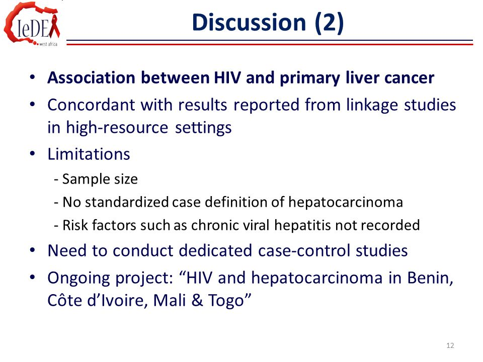 Discussion (2) Association between HIV and primary liver cancer Concordant with results reported from linkage studies in high-resource settings Limita