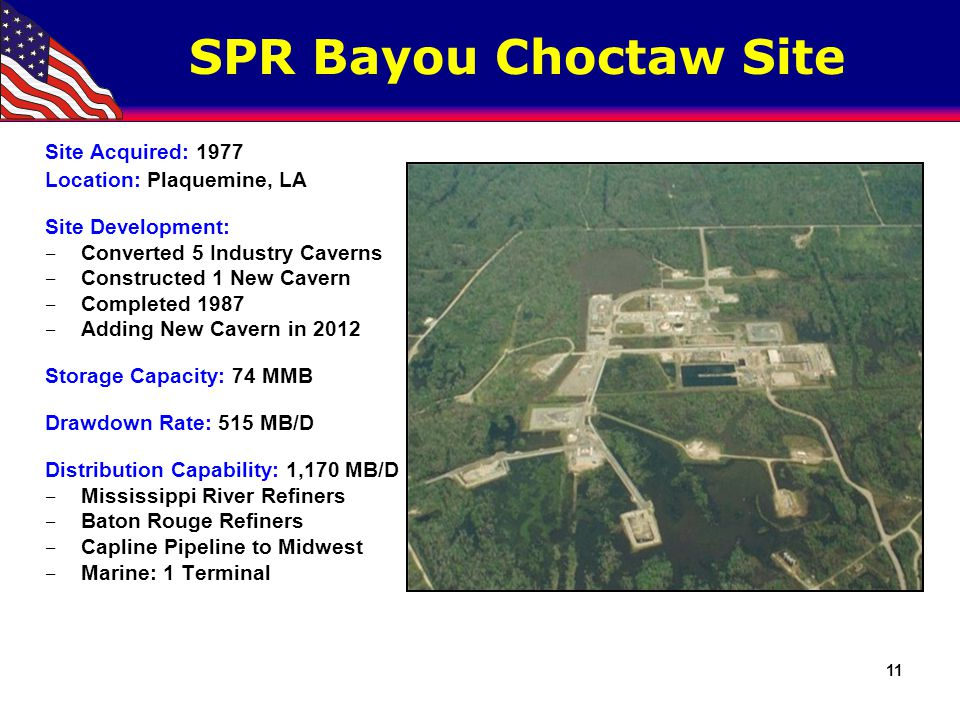 SPR Bayou Choctaw Site 11 Site Acquired: 1977 Location: Plaquemine, LA Site Development: ‒ Converted 5 Industry Caverns ‒ Constructed 1 New Cavern ‒ C