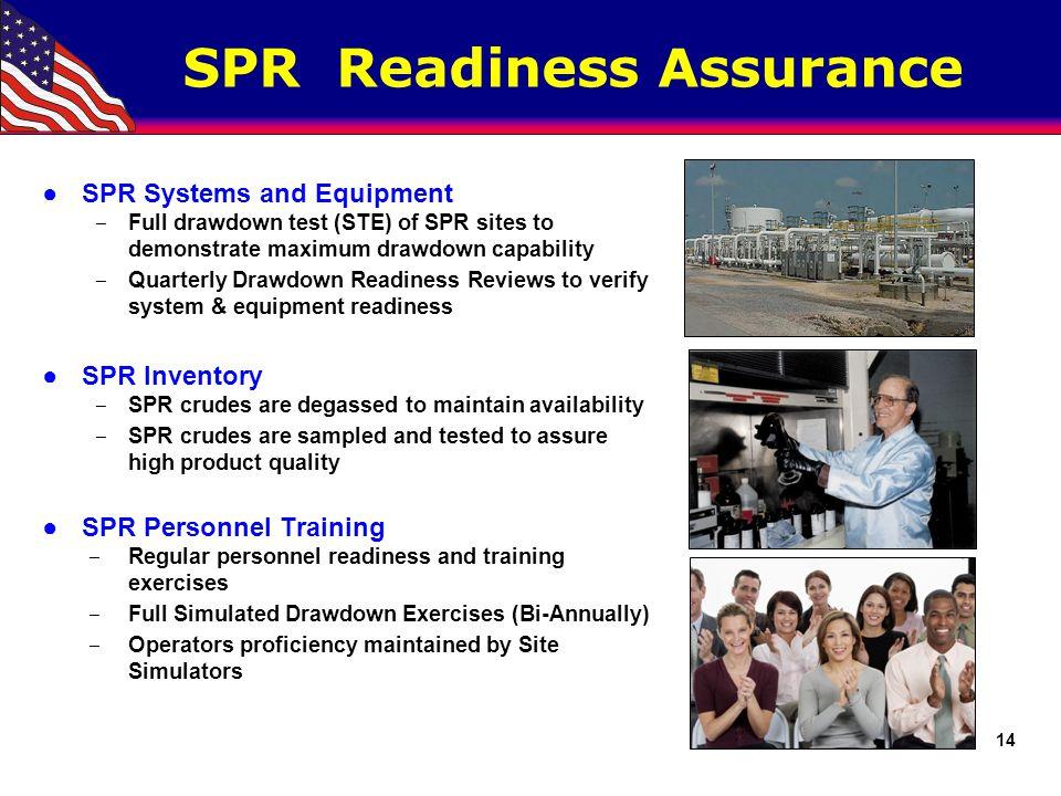SPR Readiness Assurance ●SPR Systems and Equipment ‒ Full drawdown test (STE) of SPR sites to demonstrate maximum drawdown capability ‒ Quarterly Draw