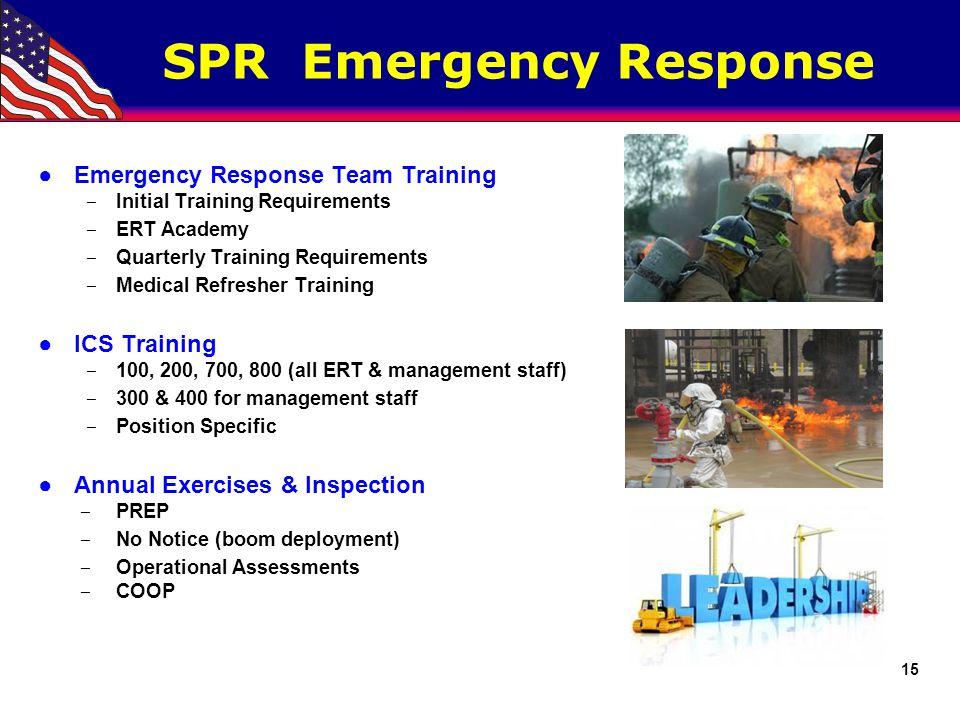 SPR Emergency Response ●Emergency Response Team Training ‒ Initial Training Requirements ‒ ERT Academy ‒ Quarterly Training Requirements ‒ Medical Ref
