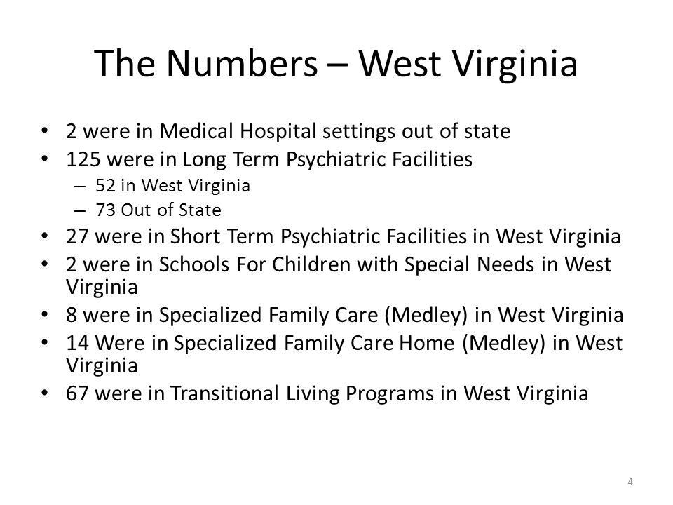 The Numbers – West Virginia 2 were in Medical Hospital settings out of state 125 were in Long Term Psychiatric Facilities – 52 in West Virginia – 73 Out of State 27 were in Short Term Psychiatric Facilities in West Virginia 2 were in Schools For Children with Special Needs in West Virginia 8 were in Specialized Family Care (Medley) in West Virginia 14 Were in Specialized Family Care Home (Medley) in West Virginia 67 were in Transitional Living Programs in West Virginia 4
