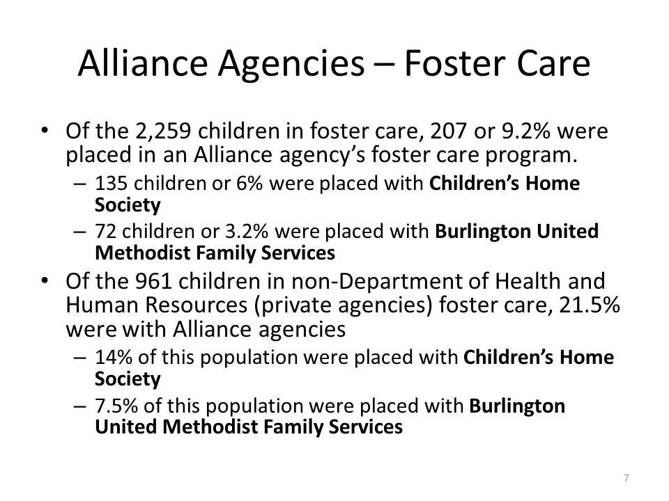 Alliance Agencies – Foster Care Of the 2,259 children in foster care, 207 or 9.2% were placed in an Alliance agency's foster care program.