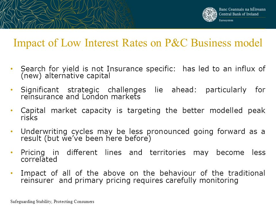 Impact of Low Interest Rates on P&C Business model Search for yield is not Insurance specific: has led to an influx of (new) alternative capital Signi