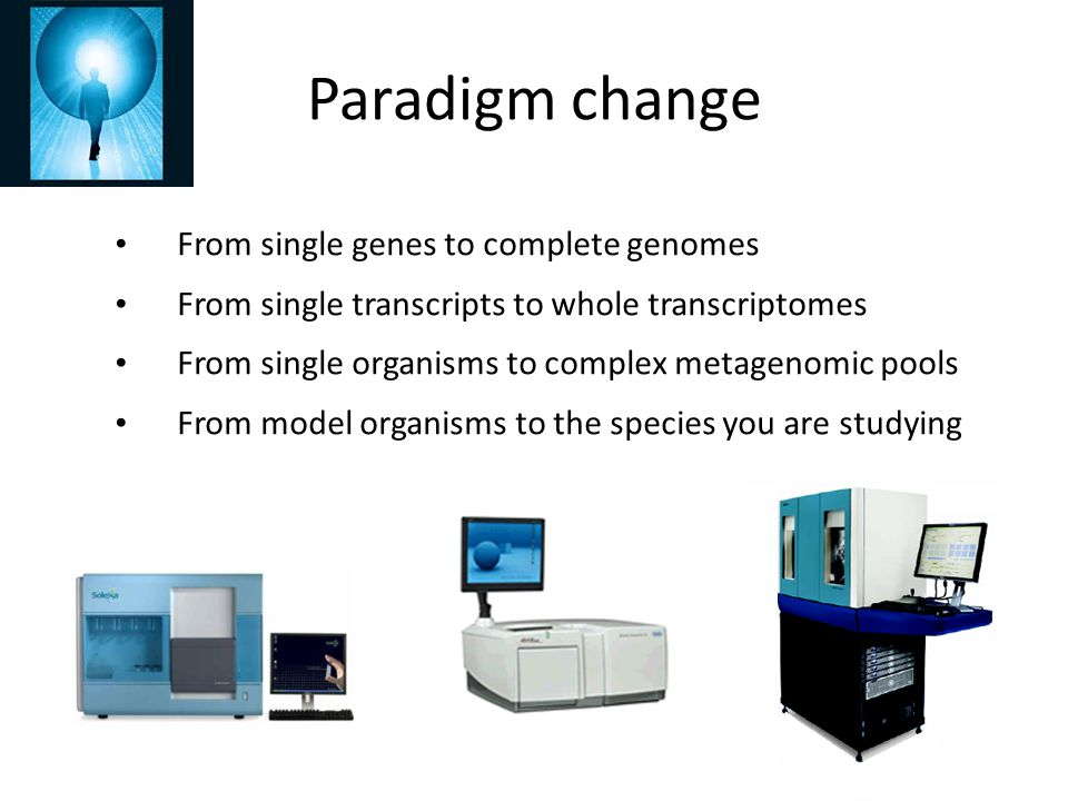 Paradigm change From single genes to complete genomes From single transcripts to whole transcriptomes From single organisms to complex metagenomic poo