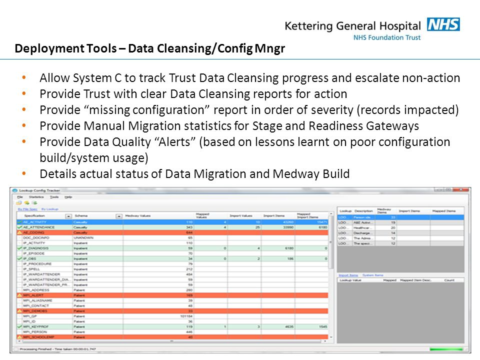 Deployment Tools – Data Cleansing/Config Mngr Allow System C to track Trust Data Cleansing progress and escalate non-action Provide Trust with clear Data Cleansing reports for action Provide missing configuration report in order of severity (records impacted) Provide Manual Migration statistics for Stage and Readiness Gateways Provide Data Quality Alerts (based on lessons learnt on poor configuration build/system usage) Details actual status of Data Migration and Medway Build