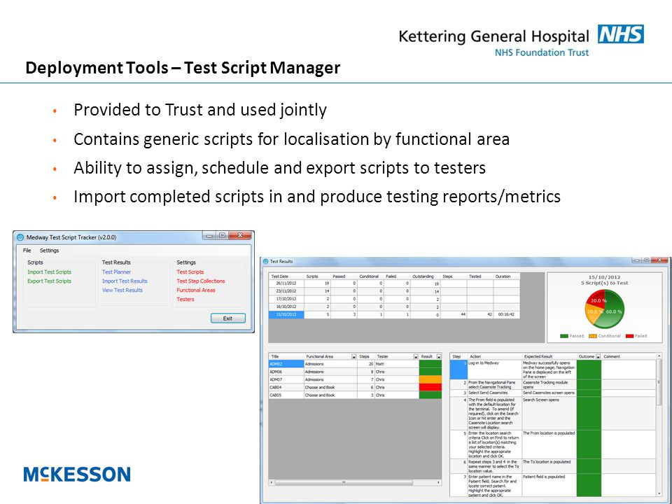 15 Deployment Tools – Test Script Manager Provided to Trust and used jointly Contains generic scripts for localisation by functional area Ability to assign, schedule and export scripts to testers Import completed scripts in and produce testing reports/metrics