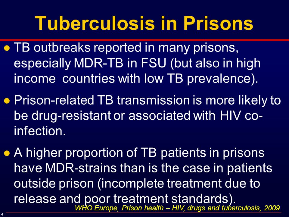5 HIV Segregation and TB Outbreaks ●PLWHA are at increased risk for acquisition and progression to active TB ●Entry into a HIV segregation unit by a single active TB case results in a high probability of TB transmission and disease progression ●Crowding and poor ventilation results in increased transmissibility ●Inadequate screening, poor isolation procedures, substandard treatment and default on treatment post-release results in development of drug-resistant strains