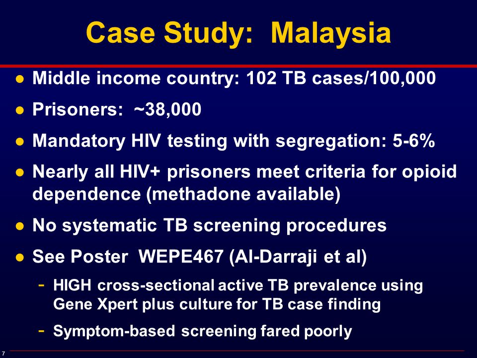 8 LTBI and the Prison Risk Environment 10% 20% 30% 40% 50% 60% 70% 80% 90% 100% 36.0% 52.1% Healthcare Workers, MY Rafiza, BMC Infect Dis, 2011 Community SE Asia Dye, JAMA, 1999 87.6% Open Prison, Kelantan, MY Margolis, IJTBLD, 2013 88.8% Closed Prison Selangor, MY Al-Darraji, BMC Pub Health, 2013 81.0% Prison Officers Selangor, MY Al-Darraji, Unpub Data, 2013 TST+ independently correlated with previous incarcerations