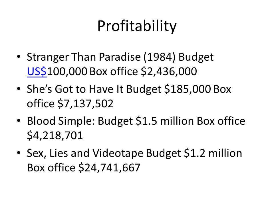 Profitability Stranger Than Paradise (1984) Budget US$100,000 Box office $2,436,000 US$ She's Got to Have It Budget $185,000 Box office $7,137,502 Blood Simple: Budget $1.5 million Box office $4,218,701 Sex, Lies and Videotape Budget $1.2 million Box office $24,741,667
