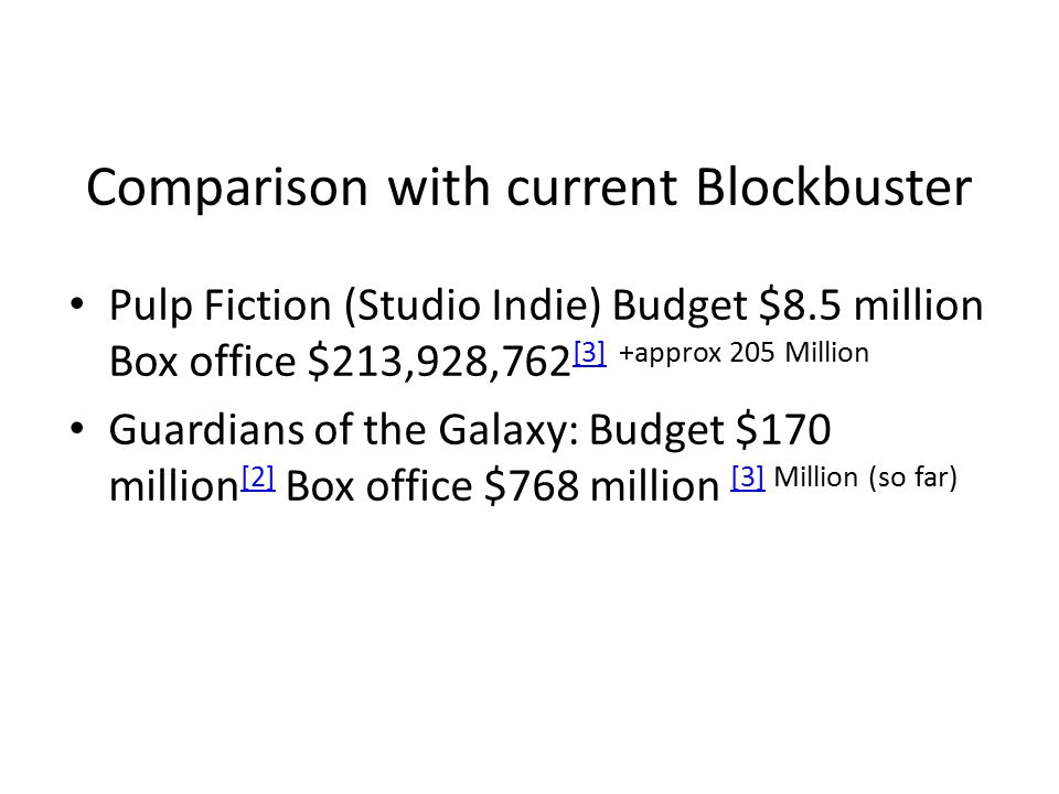 Comparison with current Blockbuster Pulp Fiction (Studio Indie) Budget $8.5 million Box office $213,928,762 [3] +approx 205 Million [3] Guardians of the Galaxy: Budget $170 million [2] Box office $768 million [3] Million (so far) [2] [3]