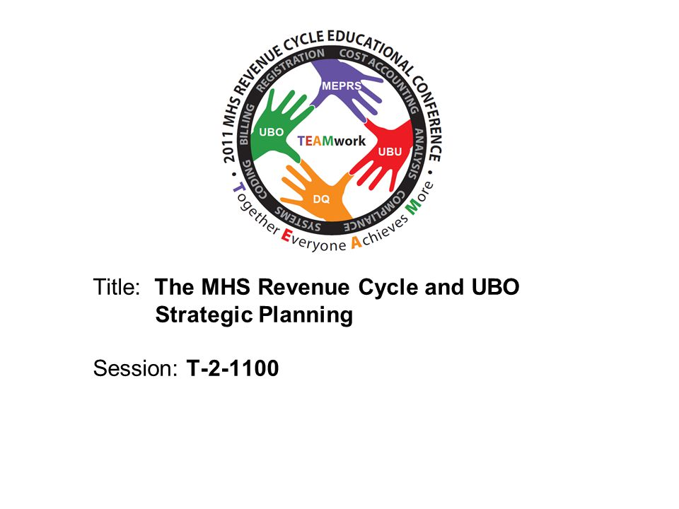 Objectives Provide basic information on: – The Uniform Billing Office Organization – Cost Recovery Programs – The MHS Revenue Cycle – Strategic Planning 2