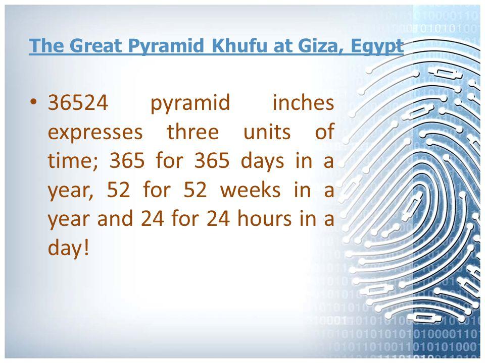 The Great Pyramid Khufu at Giza, Egypt Each side of the base of the Great Pyramid is 9131 pyramid inches.