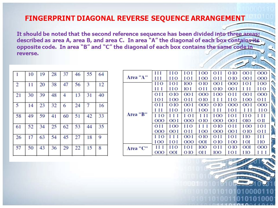 FINGERPRINT DIAGONAL REVERSE SEQUENCE ARRANGEMENT The second reference sequence works as verification in its outcome of how the first reference sequence was established.