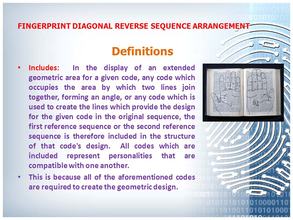FINGERPRINT DIAGONAL REVERSE SEQUENCE ARRANGEMENT It should be noted that the second reference sequence has been divided into three areas; described as area A, area B, and area C.