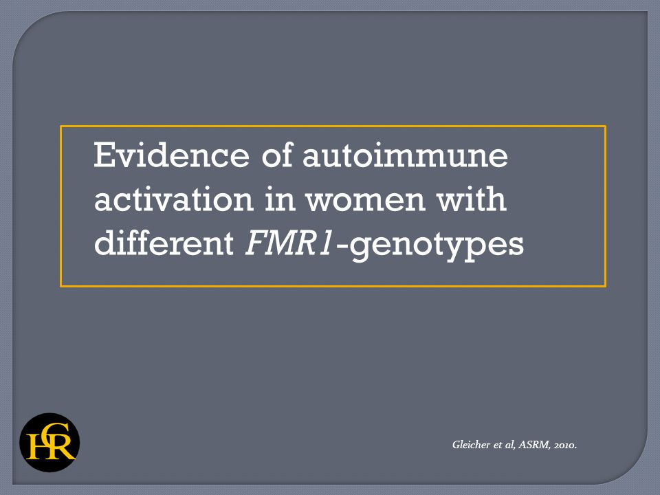 Evidence of autoimmune activation in women with different FMR1-genotypes Gleicher et al, ASRM, 2010.