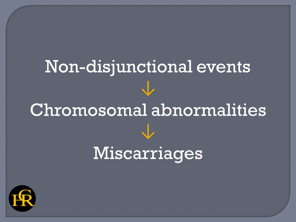 Non-disjunctional events ↓ Chromosomal abnormalities ↓ Miscarriages